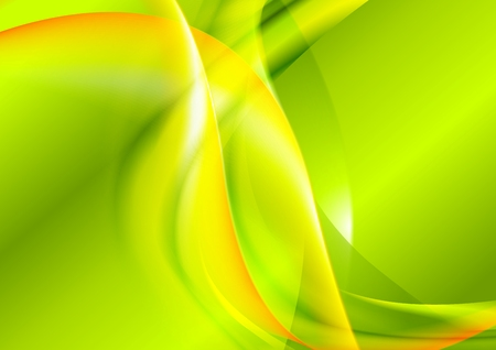 Bright green yellow waves design. Vector background