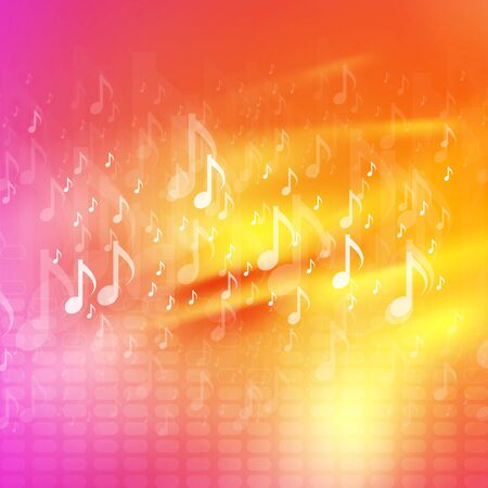 abstract music: Music notes bright abstract background. Vector waves design, yellow and pink colors Illustration