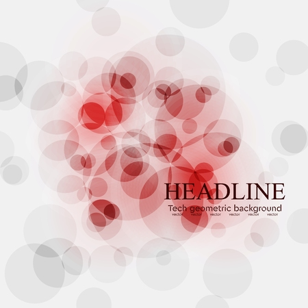 light abstract: Red tech circles bright background. Vector design