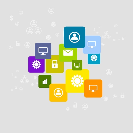 social communication: Bright social communication icons background. Vector corporate design