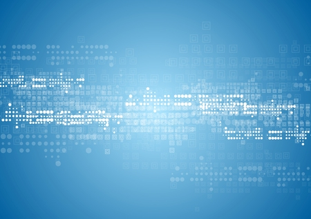 технология: Аннотация технологии фон с квадратами и кругами. Вектор синий дизайн