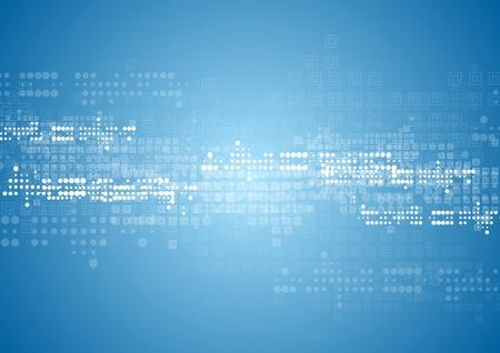 technologia: Abstrakcyjna tech tła z kwadratów i kół. Wektor niebieski wzór