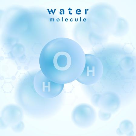 H2O Wasser-Molekül blauen abstrakten Entwurf. Vector Hintergrund Standard-Bild - 41447203