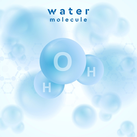 H2o water blue molecule abstract design. Vector background Vector