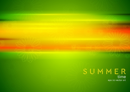 camomiles: Abstract bright green summer background with orange stripes and camomiles. Vector design