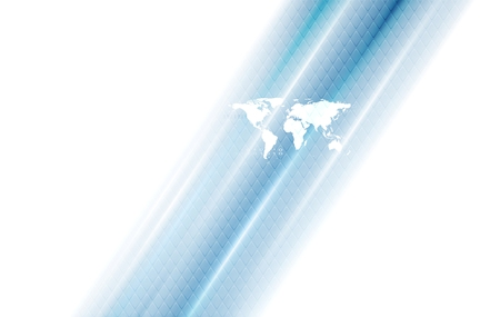 blue stripes: Hi-tech background with world map and blue stripes. Vector design