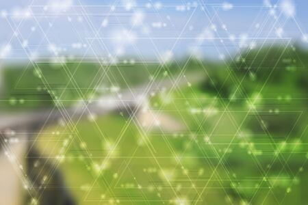 Abstract blurred landscape backdrop and tech shiny triangles. Vector design