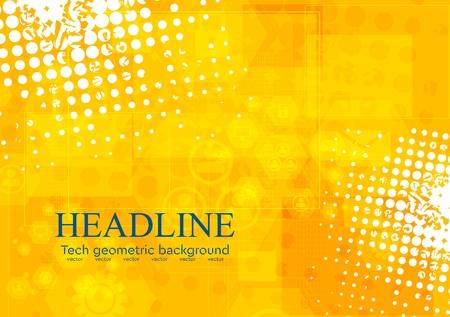 Bright orange grunge tech background. Vector design Illustration