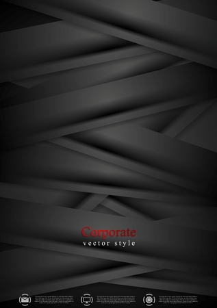 flyer background: Black concept corporate abstract background with stripes. Vector design Illustration