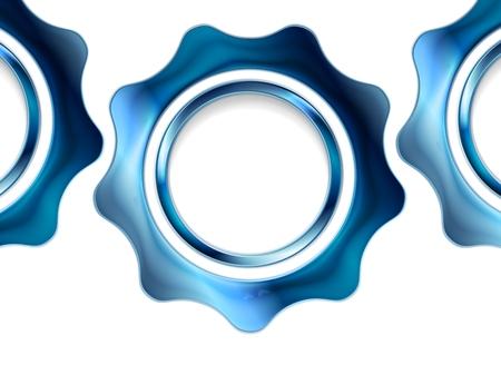 Blue metal gears on white background. Vector tech design 일러스트