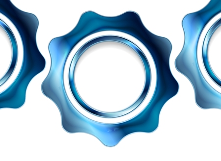 metal gears: Blue metal gears on white background. Vector tech design Illustration