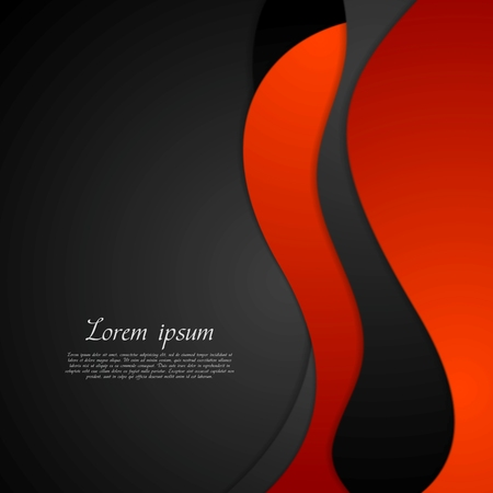 Dark red black abstract wavy background. Vector design