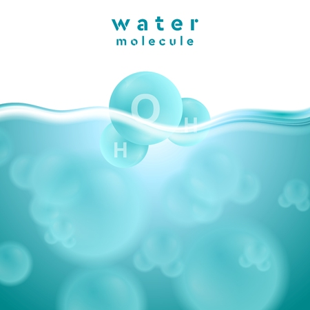 h2o: H2o blue water surface with molecule. Abstract vector design background