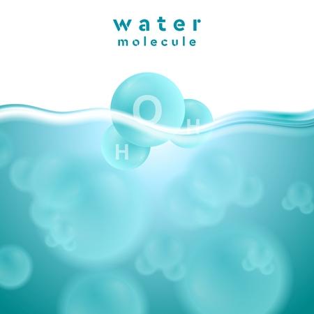 molecula de agua: H2o superficie del agua azul con la molécula. Resumen de vectores de diseño de fondo Vectores