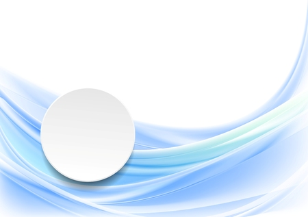 Blue smooth wavy background with blank circle. Vector design
