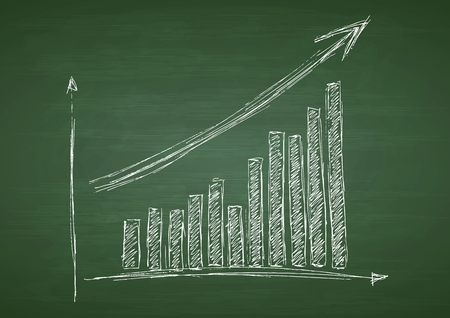 statistic: Growing graph hand drawing with arrow on green chalkboard. Vector design
