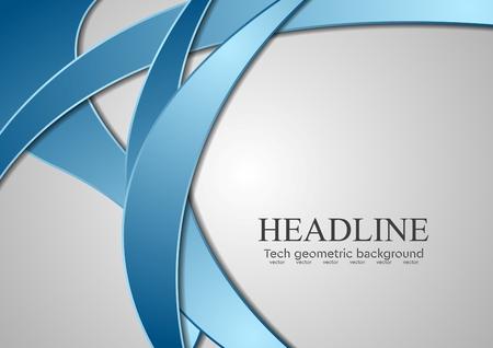 fondos azules: Olas corporativos azules abstractas sobre fondo gris. Diseño vectorial Vectores