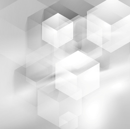 Abstract grey smooth waves and tech cubes. Vector background