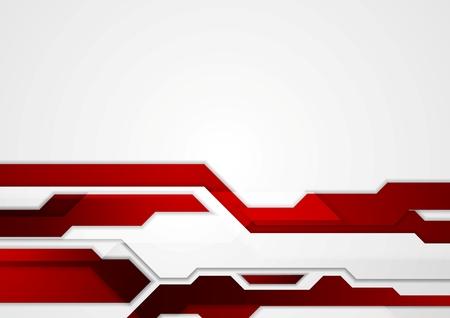 추상 빨간색 기하학적 기술 기업 디자인. 벡터 배경