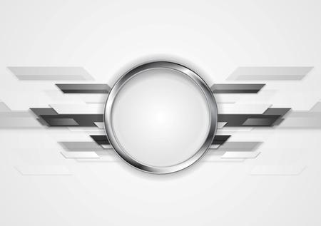 銀の丸と抽象的な灰色テクノロジー デザイン。ベクトルの背景  イラスト・ベクター素材
