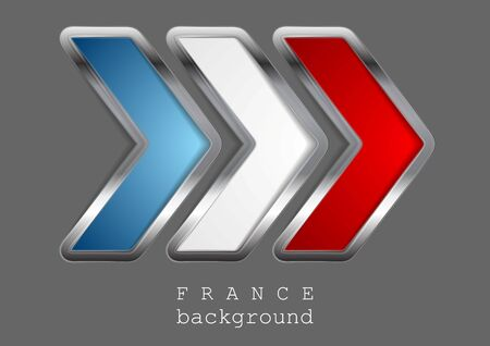 metallic background: Abstract modern metallic arrow. French colors. Vector background