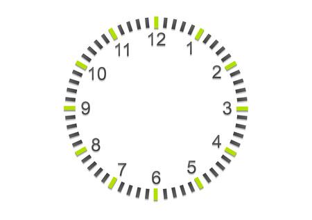 orologio da parete: Astratto minimal orologio sul muro bianco Vettoriali