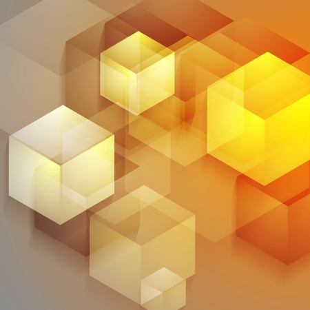 iridescent: Bright tech geometric background with cubes. Vector design