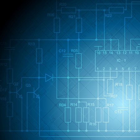 Abstract electrical scheme tech background. Vector design