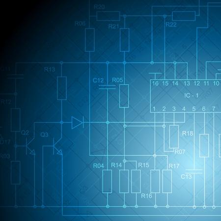 esquema: Fondo de tecnología de esquema eléctrico abstracto. Diseño vectorial Vectores
