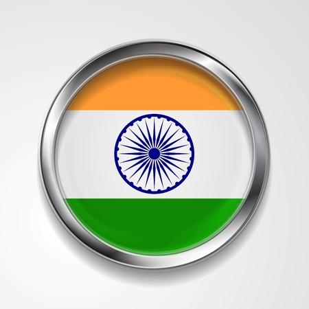 bandera de la india: República de la India del vector del indicador del botón de metal