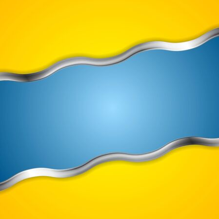 Yellow blue contrast background with metal waves. Vector card design