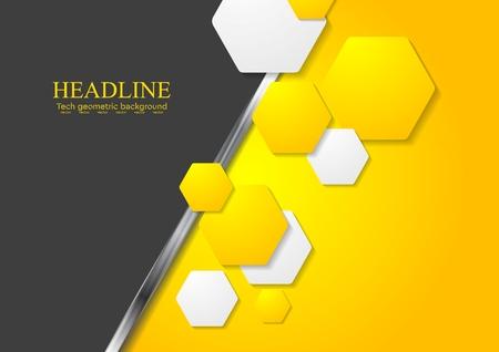 amarillo y negro: Contraste gradiente de tecnología abstracta de fondo. Diseño vectorial Vectores