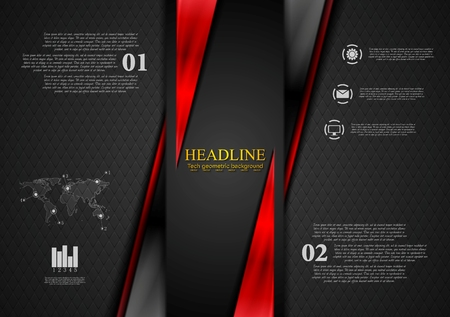 red wallpaper: Contrast black red tech presentation brochure. Vector corporate background