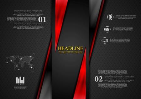 contrast: Contrast black red tech presentation brochure. Vector corporate background