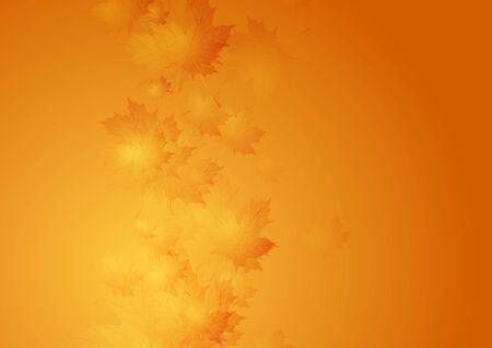 modern background: Autumn orange gradient background with blurred maple leaves. Vector design