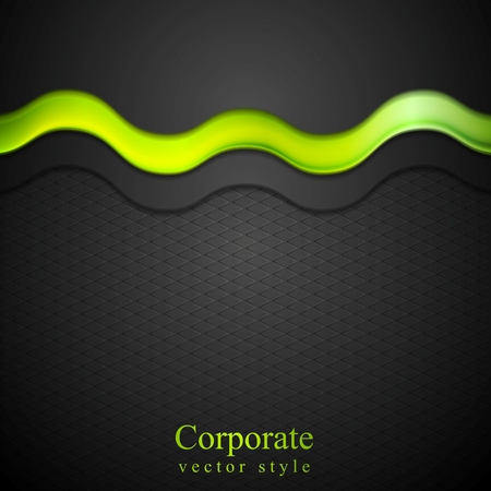Contrast black gradient background with green glow wave. Vector design