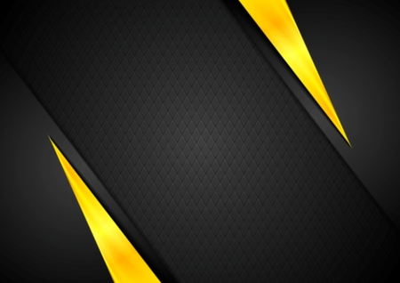 Dark contrast black yellow background. Vector design Vettoriali