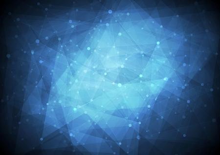 Dark blue low poly tech background. Vector design
