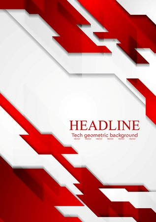 gradient background: Contrast geometric tech corporate background. Red white grey gradient colors. Vector illustration design Illustration