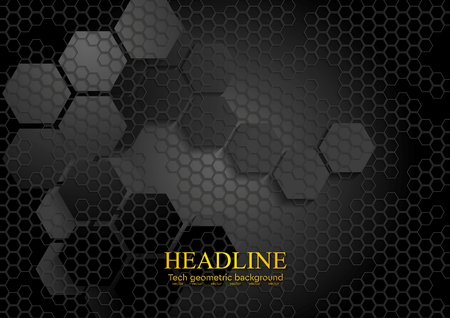 Tech geometric black background with hexagon texture. Vector design eps 10