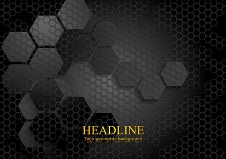 Tech geometric black background with hexagon texture. Vector design eps 10