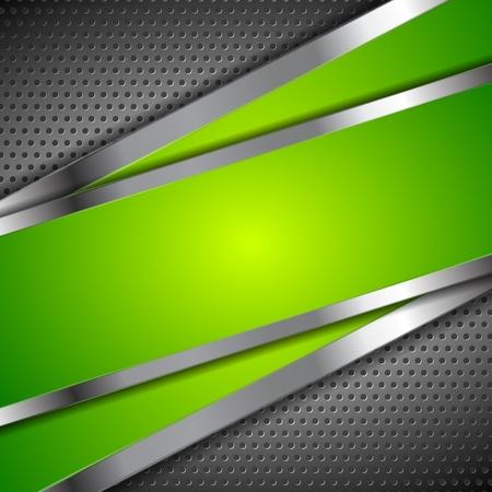 金属製の穴あきデザインと緑の背景を抽象化します。ベクトル図  イラスト・ベクター素材