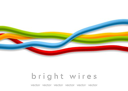 ethernet cable: Isolated bright abstract wires on white background. Tech vector design Illustration