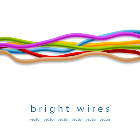 Isolated colorful abstract wires on white background. Technology vector design