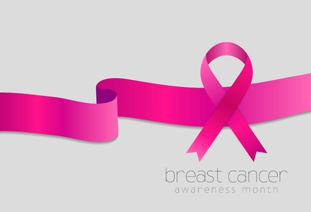 beautiful breasts: Breast cancer awareness month. Pink ribbon design. Vector background Illustration