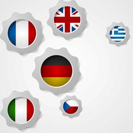 czech: European flags and cogwheels mechanism background. Vector design