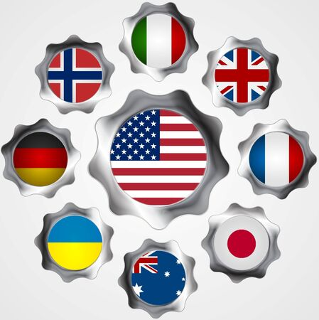 metal gears: USA influence. Metal gears and flags. Vector background