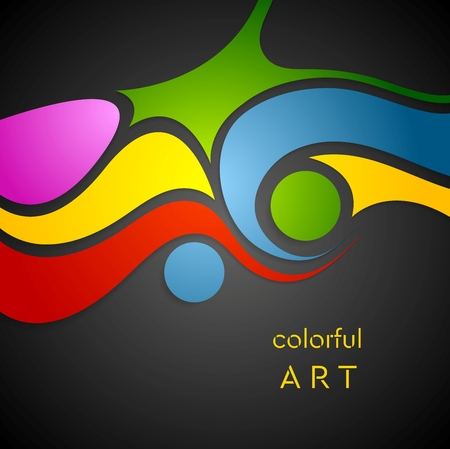 vivid colors: Colorful wavy pattern on black background. Vector design