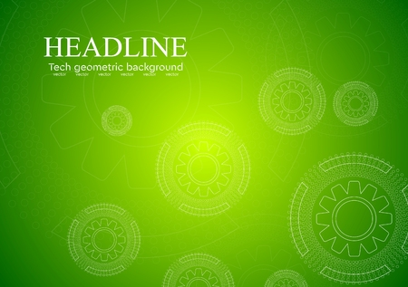 colorful abstract background: Bright green hi-tech background with gears. Vector design
