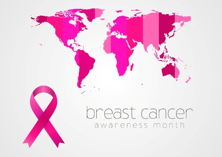 breast cancer awareness: Breast cancer awareness pink ribbon and map design. Vector background